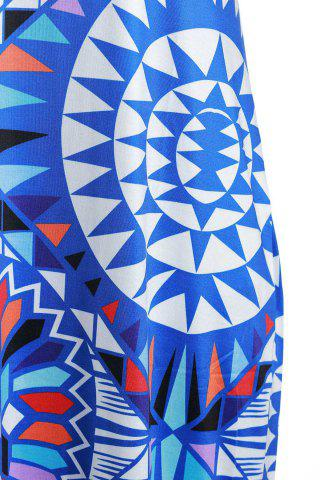 Latest Bohemian Scoop Neck Sleeveless Printed Maxi Dress For Women - S BLUE Mobile