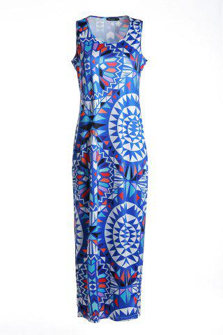 Latest Bohemian Scoop Neck Sleeveless Printed Maxi Dress For Women - L BLUE Mobile