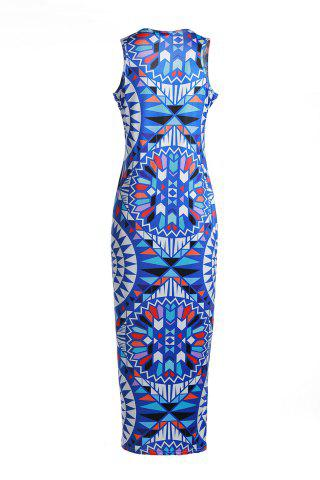Affordable Bohemian Scoop Neck Sleeveless Printed Maxi Dress For Women - L BLUE Mobile