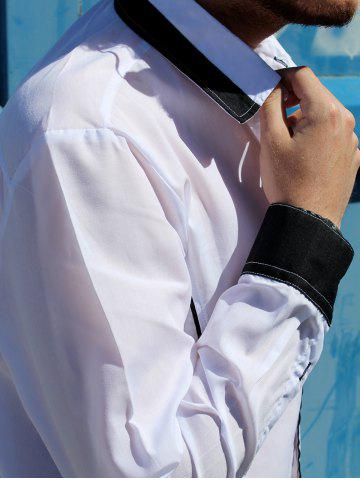 Discount Fashion Shirt Collar Slimming Color Block Fake Tie Design Long Sleeve Polyester Shirt For Men - M WHITE Mobile