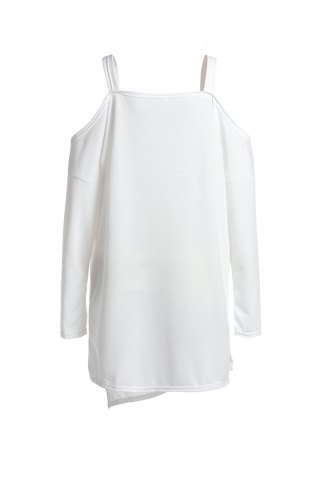Discount Stylish Square Neck Long Sleeve Hollow Out Asymmetrical T-Shirt For Women - L WHITE Mobile
