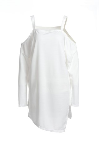 Chic Stylish Square Neck Long Sleeve Hollow Out Asymmetrical T-Shirt For Women - L WHITE Mobile