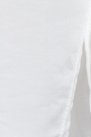 Outfits Stylish Square Neck Long Sleeve Hollow Out Asymmetrical T-Shirt For Women - L WHITE Mobile