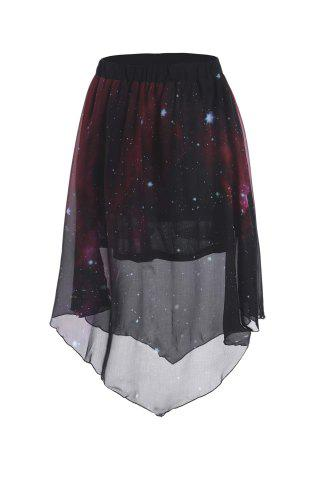 Buy Stylish Elastic Waist Galaxy Printed Asymmetrical Chiffon Skirt