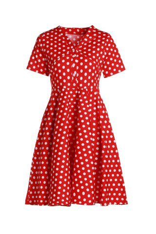 Trendy Vintage Polka Dot Printed V-Neck Flare Midi Dress For Women