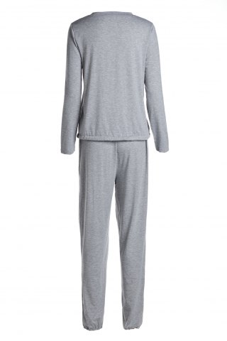 Online Scoop Neck Top and Drawstring Running Jogger Pants - S GRAY Mobile