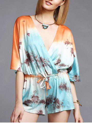 Trendy Fashionable Plunging Neck 3/4 Sleeve Printed Women's Romper