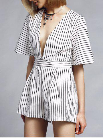 Online Trendy Plunging Neck Short Sleeve Striped Women's Romper