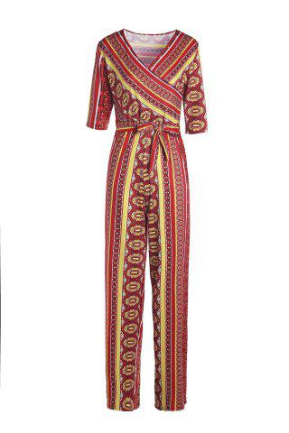 Outfit Sexy Plunging Neck Printed Half Sleeve Jumpsuit For Women