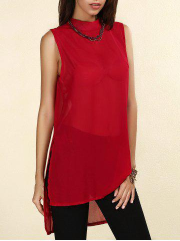 Fashion Sheer High-Low Slit Sleeveless Chiffon Blouse