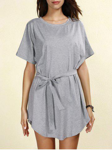 Unique Casual Short Sleeve Round Neck Self-Tie Women's Dress