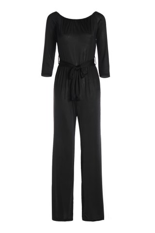 Sexy Off-The-Shoulder Long Sleeve Solid Color Wide Leg Women's Jumpsuit - Black - Xl