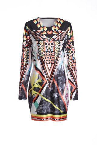 Vintage Geometric Printed Long Sleeve Bodycon Dress - Colormix - M
