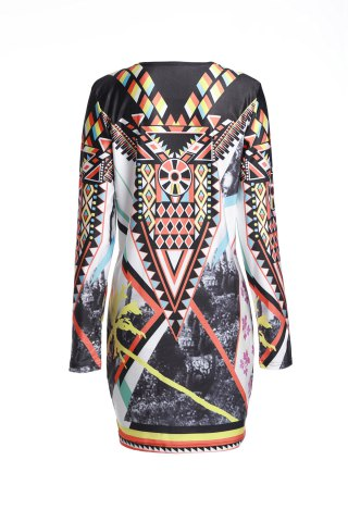 Latest Vintage Geometric Printed Long Sleeve Bodycon Dress - M COLORMIX Mobile