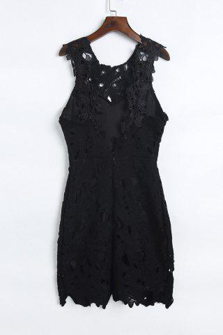Shop Mini Lace Crochet Backless Club Dress - M BLACK Mobile
