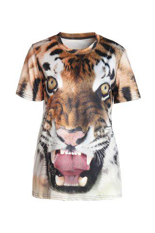 Trendy Stylish Round Neck Short Sleeve Tiger Print T-Shirt For Women COLORMIX XL