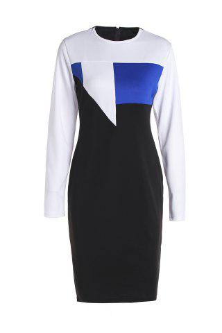 Fashion Sexy Round Neck Long Sleeve Hit Color Bodycon Women's Dress BLUE M