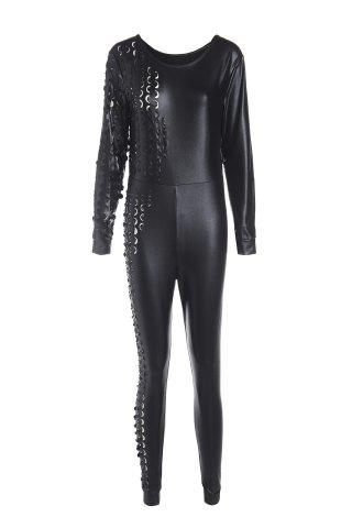 Hot Sexy Scoop Neck Black PU Leather Long Sleeve Jumpsuit For Women