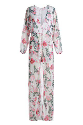 Buy Stylish Plunging Neck High Waist Floral Printed High Low Romper For Women WHITE 2XL