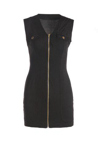 Store Sexy Plunging Neck Sleeveless Zip Up Black Mini Dress For Women