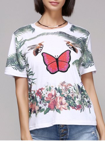 Fancy Chic Women's Butterfly Print Short Sleeve Round Neck T-Shirt WHITE L