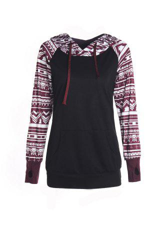 Unique Chic Long Sleeve Geometrical Hooded Color Block Hoodie For Women