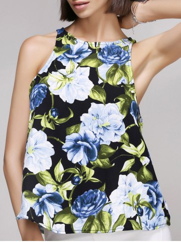 New Chic Women's Round Neck Flower Print Tank Top COLORMIX L