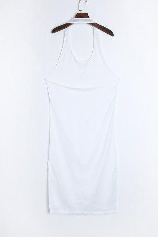 Online Sexy U Neck Sleeveless Backless See-Through High Slit White Dress For Women - S WHITE Mobile