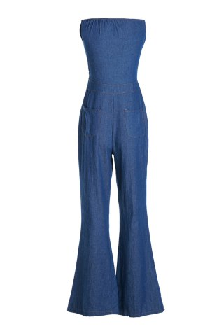 Outfit Casual Strappy Denim Wide Leg Jumpsuit For Women - S DEEP BLUE Mobile