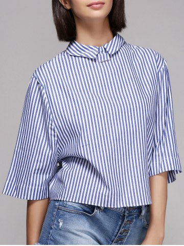 Discount Chic Women's Pinstriped Flat Collar 3/4 Sleeve Blouse