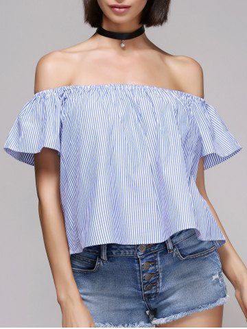 Chic Women's Pinstriped Off The Shoulder Blouse