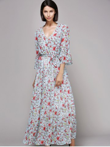 Buy Bell Sleeve Maxi Floral Beach Swing Dress