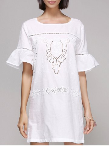 Fashion Chic Women's Flare Sleeve Embroidery Dress
