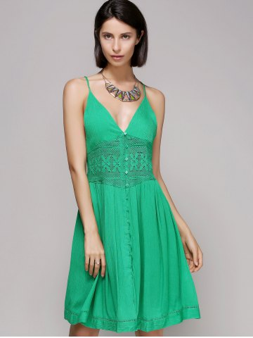 Affordable Chic Women's Laced Plunging Neck Sleeveless Dress GREEN L