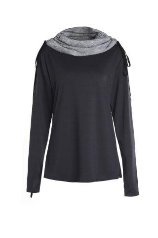 Buy Chic Turtle Neck Long Sleeve Spliced Women's Sweatshirt