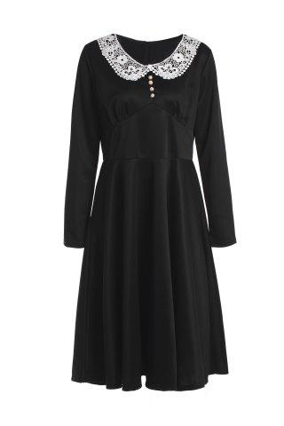 Unique Noble Peter Pan Collar Long Sleeve Lace Spliced Women's Dress