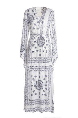 Cheap Vintage Style Plunging Neck Flare Sleeve Lace-Up High Slit Dress For Women GREY/WHITE M