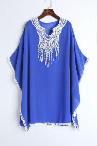 Buy Lace Chiffon Beach Kaftan Cover Up BLUE ONE SIZE(FIT SIZE XS TO M)