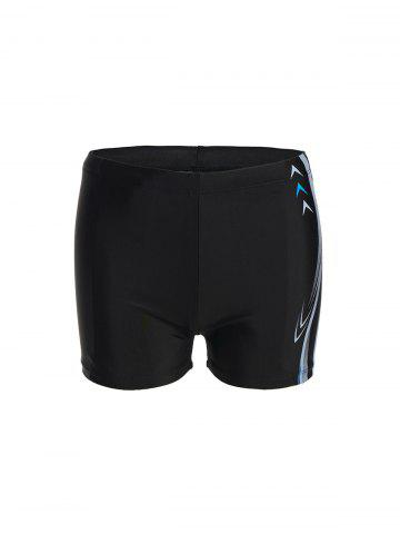 Store Modish Lace-Up Waterproof Arrow and Letter Print Quick-Dry Polyester+Spandex Boxers Swimming Trunks For Men