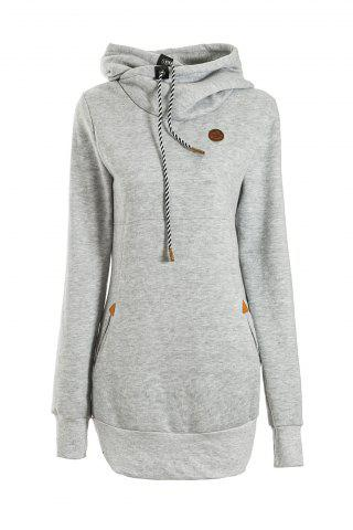 Best Chic Solid Color Long Sleeve Hooded Hoodie For Women LIGHT GRAY M