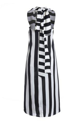 Trendy Striped Plunge Maxi Evening Prom Dress WHITE AND BLACK S