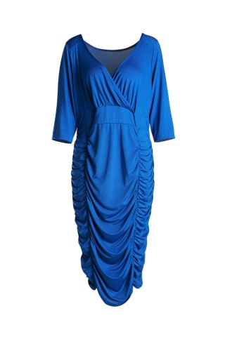 Shop Trendy Solid Color V-Neck 3/4 Sleeve Bodycon Ruched Midi Dress For Women