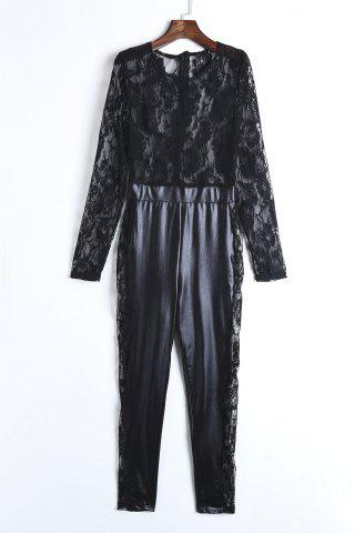 Chic Sexy Round Neck Lace Spliced PU Leather Long Sleeve Jumpsuit For Women BLACK XL