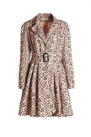 Hot Leopard Print Belted Trench Coat Dress YELLOW S