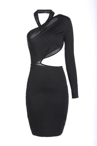 Online Chic One Shoulder Pure Color Cut Out Bodycon Dress For Women