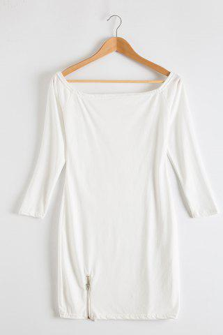 New Alluring Off-The-Shoulder Long Sleeve Zippered Bodycon Women's Dress WHITE XL
