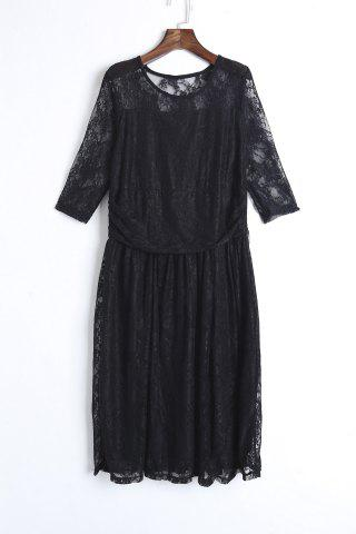 Fancy Elegant Jewel Neck Half Sleeve Solid Color Pleated Lace Dress For Women
