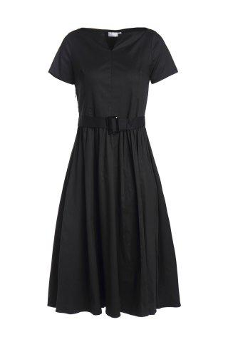 Hot Retro Style V Neck Short Sleeve Solid Color Belted Ball Gown Dress For Women