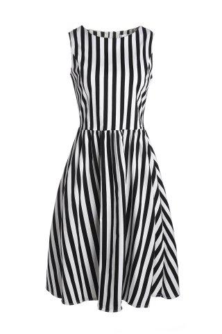 Outfit Retro Style Boat Neck Sleeveless Striped Ball Gown Dress For Women