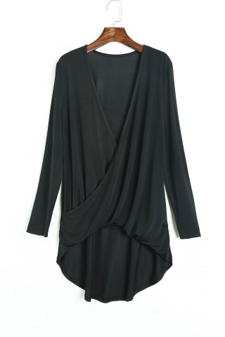 Outfit Sexy Black V-Neck Long Sleeve Pleated Asymmetric T-Shirt For Women